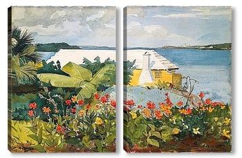 Модульная картина Цветочный сад и коттедж.Бермуды