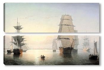 Модульная картина Гавань Бостона на закате