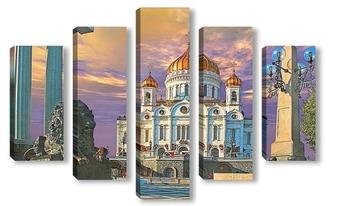 Модульная картина Храм Христа Спасителя ранним утром.