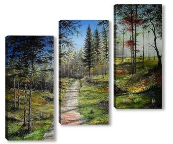 Модульная картина Осенний лес