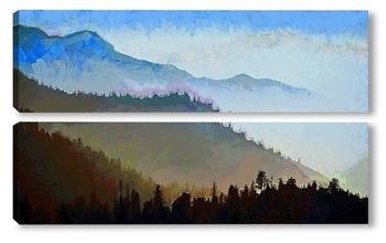Модульная картина Туман в горах