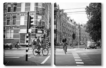 Модульная картина Велосипедисты
