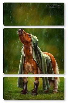 Модульная картина Пони под дождем