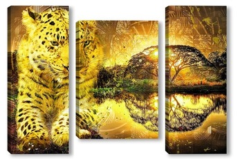 Модульная картина Леопард и закат