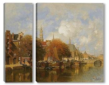 Модульная картина Вид на канал Амстердам