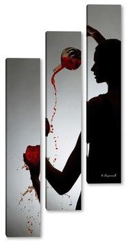 Модульная картина Девушка наливает бокал вина