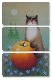Модульная картина Кот на яблоке