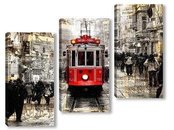 Модульная картина Трамвай и дождь