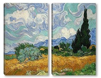 Модульная картина Пшеничное поле с кипарисами