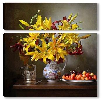 Модульная картина Желтый с бордо