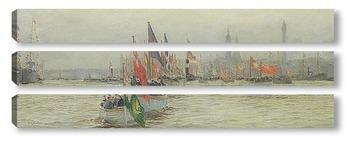 Модульная картина Река,шествие короля Георга, 1919