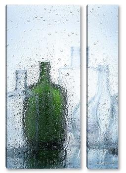 Модульная картина Бутылки с вином за мокрым стеклом.