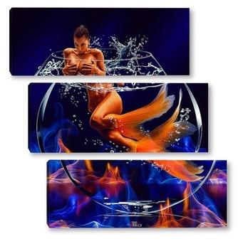 Модульная картина Огонь и вода
