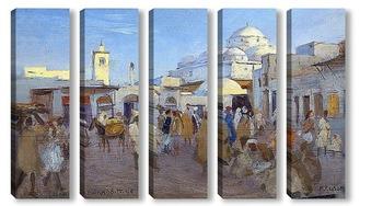 Модульная картина Уличная сцена в Тунисе