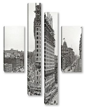 Модульная картина Южный Мидтаун. Небоскреб Flatiron Building. 1902 г.