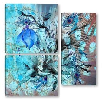 Модульная картина Голубые акварельные цветы