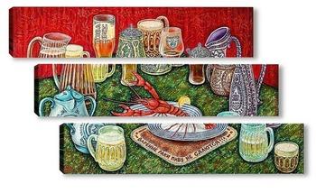 Модульная картина Варёные раки пиву не сдаются!