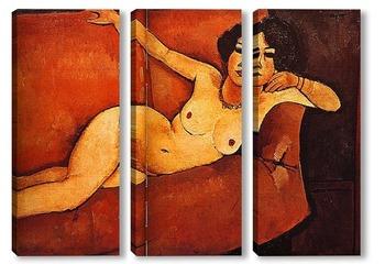 Модульная картина Обнажённая женщина на диване