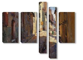 Модульная картина Узкая улица в Риге