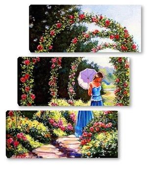 Модульная картина Аллея роз
