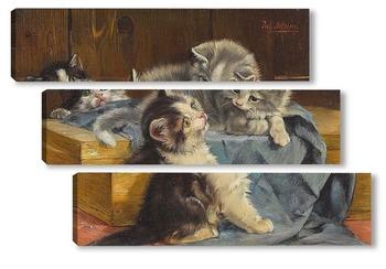 Модульная картина Три котенка на голубом полотне
