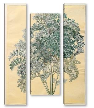Модульная картина Серые листья