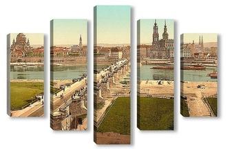 Модульная картина Старый город, Дрезден, Саксония, Германия. 1890-1900 гг