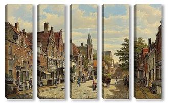 Модульная картина Фигуры в голландском городе в солнечный день