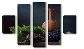 Модульная картина Натюрморт с кувшином и виноградом