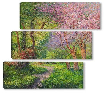 Модульная картина Пейзаж с цветущем деревом...
