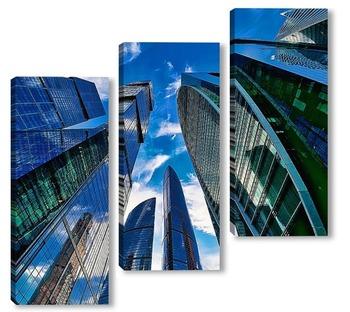 Модульная картина Небо и небоскребы-4