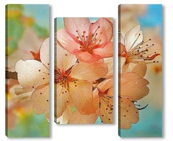 Модульная картина Цветение сакуры.