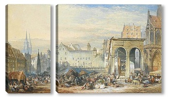 Модульная картина Нюрнберг городская площадь