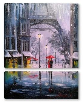 Модульная картина Первый снег в Париже