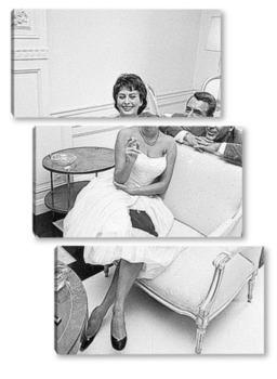 Модульная картина Софи Лорен и Кари Грант.