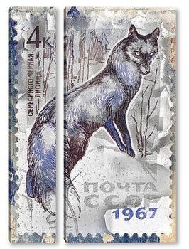 Модульная картина Серебристо-черная лисица