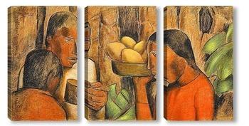 Модульная картина Продавцы манго