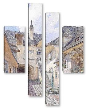 Модульная картина Картина художника XIX-XX веков, пейзаж, город