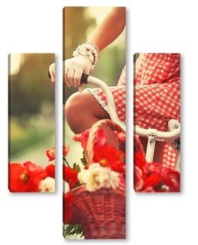 Модульная картина Девушка в белых перчатках