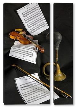 Модульная картина Скрипка, ноты и клаксон