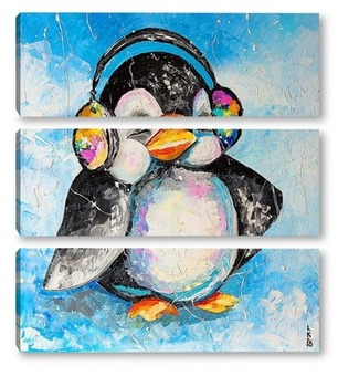 Модульная картина Пингвин меломан