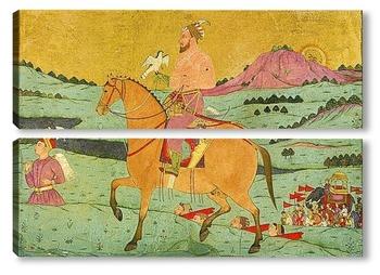 Модульная картина Могольский дворянин верхом на лошади с ястребом