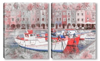 Модульная картина Рыбацкие лодки в порту