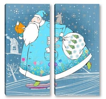 Модульная картина Дед Мороз на скейте