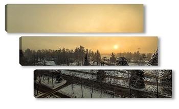 Модульная картина город в тумане
