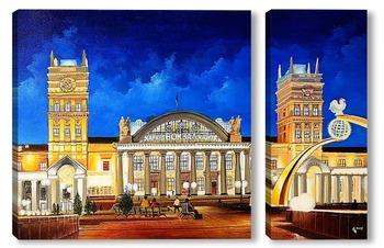 Модульная картина Ж/д вокзал города Харьков