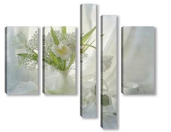 Модульная картина Белые тюльпаны