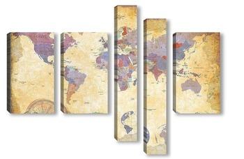 Модульная картина Винтажная карта мира