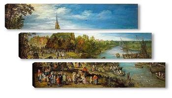 Модульная картина Деревенская ярмарка
