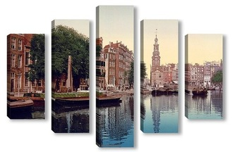 Модульная картина Амстердам, Мунтплейн с Мунтторен